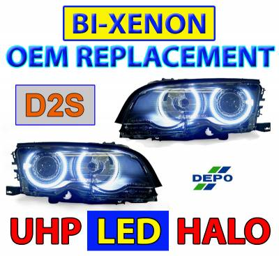 Depo - BMW E46 Black Projector Angel DEPO Headlight Hi/Low W/ Uhp Led Angel Halo Rings