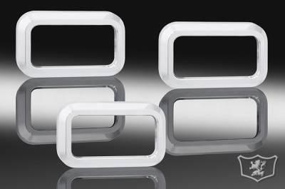 Suv Truck Accessories - Billet Accessories - Defenderworx - Hummer H2 Defenderworx Mini Light Bezels - Smooth - Set of 3 - Chrome - H2PPC05011