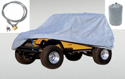 Accessories - Car Covers - Omix - Rugged Ridge Full Car Cover Kit - 3 Piece with Bag and Lock - 13321-72