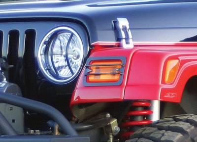 Headlights & Tail Lights - Headlight Covers - Rampage - Jeep Wrangler Rampage Euro Headlight Covers - Stainless - 2PC - 5460