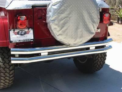 CJ7 - Rear Add On - Rampage - Jeep CJ Rampage Double Tube Rear Bumper with Receiver - Black - 7648