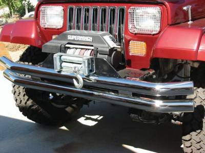 CJ3 - Front Bumper - Rampage - Jeep CJ Rampage Double Tube Bumper - Front & Rear without Hoop - Stainless Steel - 8449