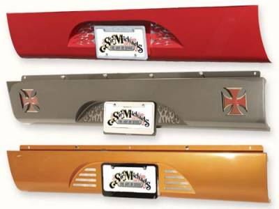 Suv Truck Accessories - Roll Pans - Sir Michaels - Rollpan with Fiberglass End Caps and Vette Style License Plate - Bolt On - 28701
