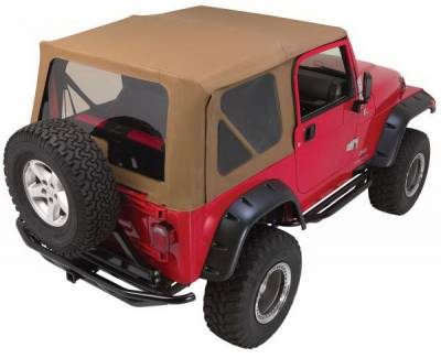Suv Truck Accessories - Soft Tops - Rampage - Jeep Wrangler Rampage Complete Top - Frame & Hardware with Tinted Windows with Soft Upper Doors - Diamond Black - 68535