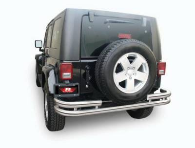 Wrangler - Rear Add On - Rampage - Jeep Wrangler Rampage Double Tube Rear Bumper - Stainless Steel - 86448