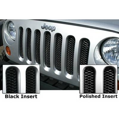 Grilles - Custom Fit Grilles - Rampage - Jeep Wrangler Rampage 3D Steel Grille - Gloss Black with Clear Coat Polished Highlights - Each - 86513