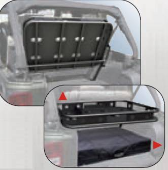 Suv Truck Accessories - Cargo Racks - Rampage - Jeep Wrangler Rampage Rear Sport Rack - Interior Mount - Fold up - 86617