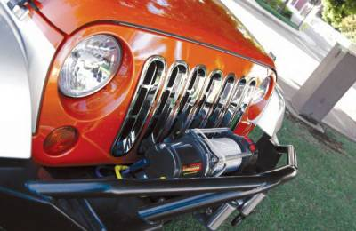 Grilles - Custom Fit Grilles - Rampage - Jeep Wrangler Rampage Grille Inserts - Chrome - 87511