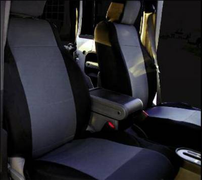 Car Interior - Seat Covers - Rampage - Jeep Wrangler Rampage Custom Fit Neoprene Seat Cover - Front Pair - Black & Gray - 5047721