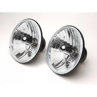Headlights & Tail Lights - Headlights - Rampage - Jeep Wrangler Rampage Headlight Conversion Kit - 7 Inch Round with Clear Glass Lens - Pair - 5089925
