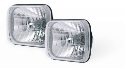 Headlights & Tail Lights - Projection Lights - Rampage - Jeep Wrangler Rampage Headlight Conversion Kit - 200mm Rectangular with Clear Glass Lens - Pair - 5089927