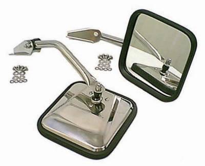 CJ7 - Mirrors - Omix - Rugged Ridge Side Mirror - Pair - Chrome Steel - 11010-01