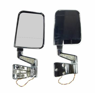 Wrangler - Mirrors - Omix - Rugged Ridge LED Mirror - Pair with Dual Focal Point on Right Lens - Chrome - Left - 11016-02