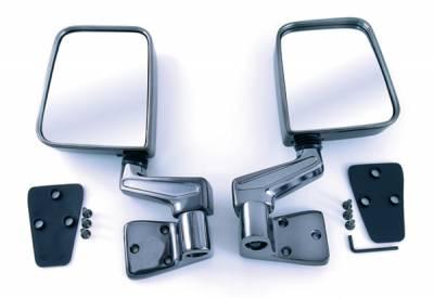 Wrangler - Mirrors - Omix - Rugged Ridge Side Mirror - Plastic - Pair - No Drilling - Black Chrome - 11090-01