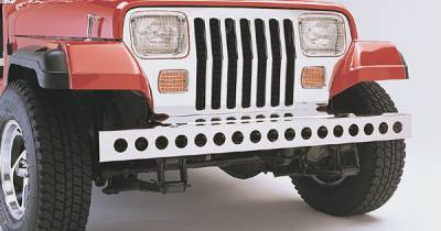 Wrangler - Front Bumper - Omix - Rugged Ridge Front Bumper Treatment with Holes - Stainless Steel - 11107-02