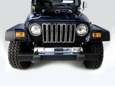 Wrangler - Frame Covers - Omix - Rugged Ridge Frame Cover - Front - Stainless Steel - 11120-03