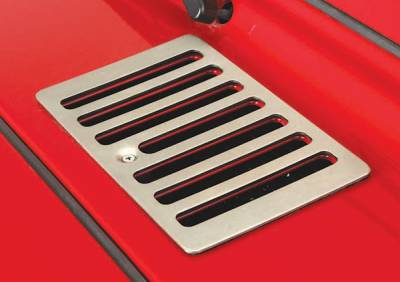 Wrangler - Hoods - Omix - Rugged Ridge Hood Vent - Stainless Steel - Drilling May Be Required - 11185-69