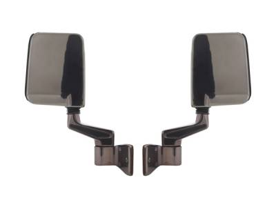 Wrangler - Mirrors - Omix - Rugged Ridge Side Mirror Kit - Reinforced Plastic with Satin Finish - Arms Cast Satin Stainless - Stainless Steel - 11191-01