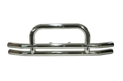 CJ3 - Front Bumper - Omix - Rugged Ridge Front Tube Bumper with Hoop - Stainless - 11520-01