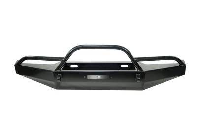 Wrangler - Front Bumper - Omix - Rugged Ridge Heavy Duty Bumper with Front Armor - Black - 11540-01