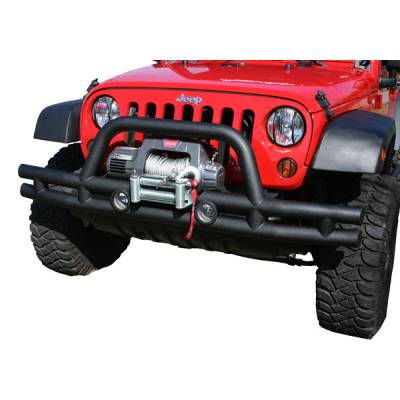 Wrangler - Front Bumper - Omix - Rugged Ridge Front Tube Bumper with Winch Cut Out - Black - 11560-11