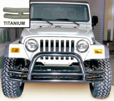 Scrambler - Front Bumper - Omix - Outland Front Tube Bumper with Riser - Titanium - 11562-01