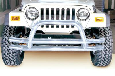 Scrambler - Front Bumper - Omix - Outland Front Tube Bumper with Riser - Stainless - 11563-01
