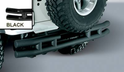 Wrangler - Rear Bumper - Omix - Outland Rear Tube Bumper with Hitch - Black - 11570-04