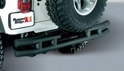 Scrambler - Rear Bumper - Omix - Outland Rear Tube Bumper with Hitch - Textured Black - 11571-02