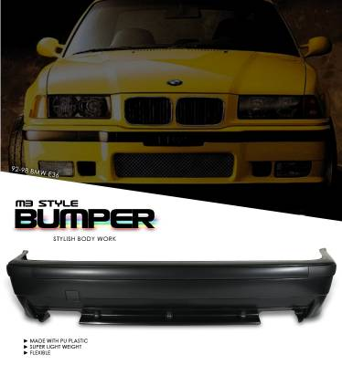 3 Series 2Dr - Rear Bumper - OptionRacing - BMW 3 Series Option Racing Rear Bumper - 29-12104