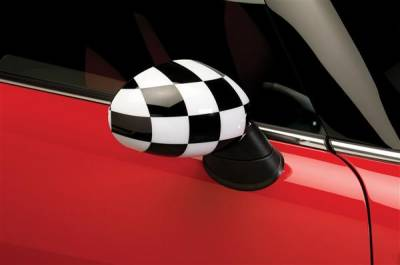 Cooper - Mirrors - Putco - Mini Cooper Putco Manual Mirror Overlays - Checkered Flag - 400519M