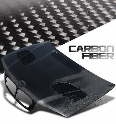 3 Series 4Dr - Hoods - OptionRacing - BMW 3 Series Option Racing Carbon Fiber Hood - GTR Style - NRG-CH-BE46-03