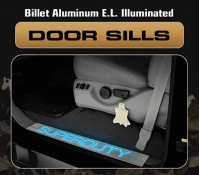 Silverado - Door Sills - Recon - Recon Billet EL Illuminated Door Sill Kick Plate - Brushed - 264121GM