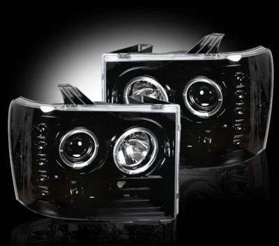 Headlights & Tail Lights - Headlights - Recon - GMC Sierra Recon Projector Headlights - 264271BK
