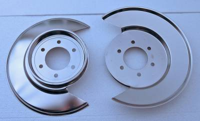 Brakes - Brake Components - Omix - Rugged Ridge Brake Dust Shield with 6 Bolt Caliper Plate - Pair - Stainless Steel - 11121-01