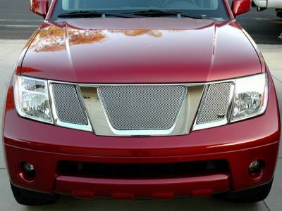 Grilles - Custom Fit Grilles - Grillcraft - Nissan Frontier MX Series Silver Upper Grille - 3PC - NIS-1526-S