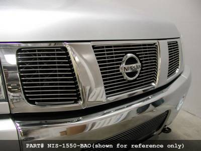 Grilles - Custom Fit Grilles - Grillcraft - Nissan Armada BG Series Black Billet Upper Grille - Without Logo Opening - 3PC - NIS-1550-BAC