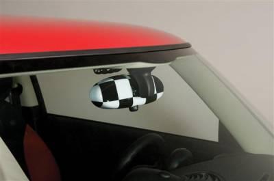 Car Interior - Interior Accessories - Putco - Mini Cooper Putco Chrome Checkered Flag Rear View Mirror Cover - 400058