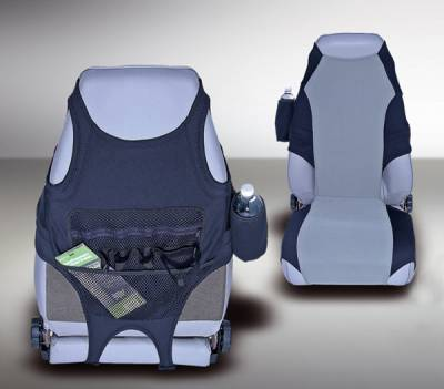 Car Interior - Seat Covers - Omix - Rugged Ridge Seat Protector - Black & Gray Neoprene - 13235-19