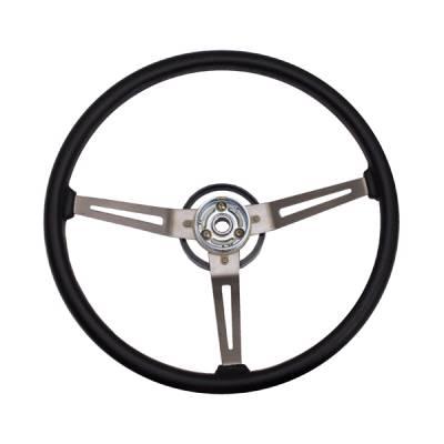 Car Interior - Steering Wheels - Omix - Omix Steering Wheel - Metal 3-Spoke Design - Black with Leather Trim - 18031-05