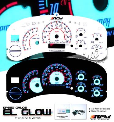 Car Interior - Gauges - OptionRacing - Chevrolet Silverado Option Racing Indiglo Gauge Face Overlay Set - 58-15123