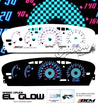 Car Interior - Gauges - OptionRacing - Dodge Neon Option Racing Indiglo Gauge Face Overlay Set - 58-17124
