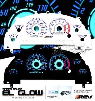 Car Interior - Gauges - OptionRacing - Ford Mustang Option Racing Indiglo Gauge Face Overlay Set - 58-18120