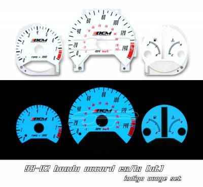 Car Interior - Gauges - OptionRacing - Honda Civic Option Racing Indiglo Gauge Face Overlay Set - 58-20103