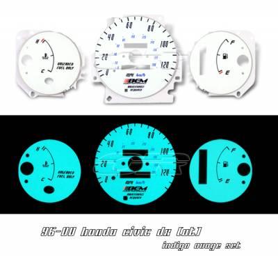 Car Interior - Gauges - OptionRacing - Honda Civic Option Racing Indiglo Gauge Face Overlay Set - 58-20104