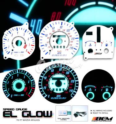 Car Interior - Gauges - OptionRacing - Mazda MX6 Option Racing Indiglo Gauge Face Overlay Set - 58-31110