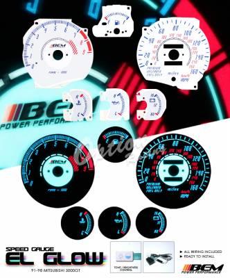 Car Interior - Gauges - OptionRacing - Mitsubishi 3000GT Option Racing Indiglo Gauge Face Overlay Set - 58-35112