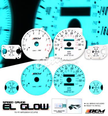Car Interior - Gauges - OptionRacing - Mitsubishi Eclipse Option Racing Indiglo Gauge Face Overlay Set - 58-35113