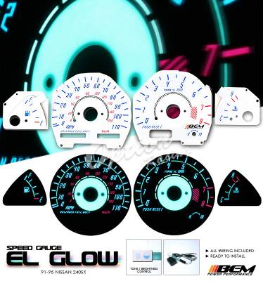 Car Interior - Gauges - OptionRacing - Nissan 240SX Option Racing Indiglo Gauge Face Overlay Set - 58-36115