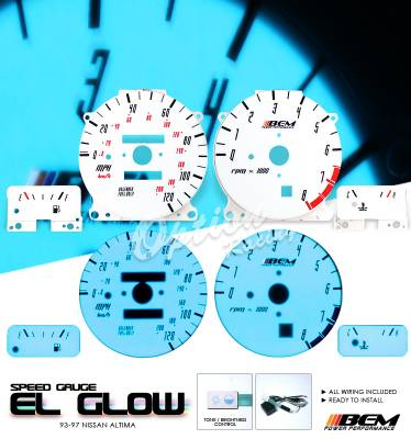 Car Interior - Gauges - OptionRacing - Nissan Altima Option Racing Indiglo Gauge Face Overlay Set - 58-36116